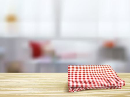 closeup look of wooden desk and tablecloth in room Vector