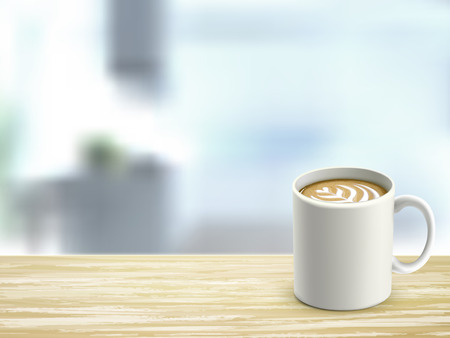 closeup look of wooden desk and coffee in room Vector
