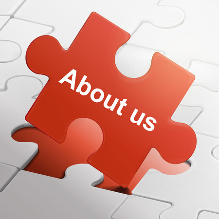 about us: about us on red puzzle pieces background