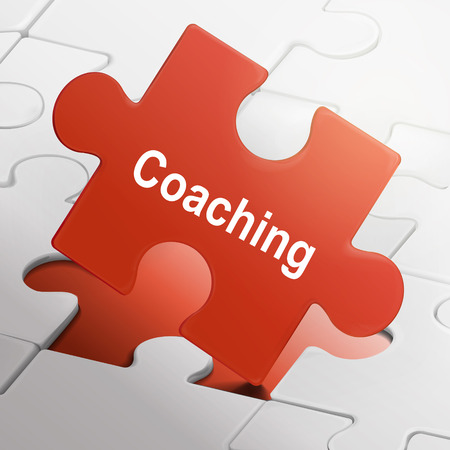 coaching word on red puzzle pieces background Vector