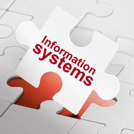 information systems: information systems on white puzzle pieces background