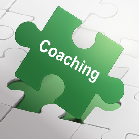 coaching word on green puzzle pieces background Vector