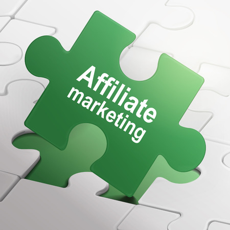 affiliate marketing on green puzzle pieces background Vector