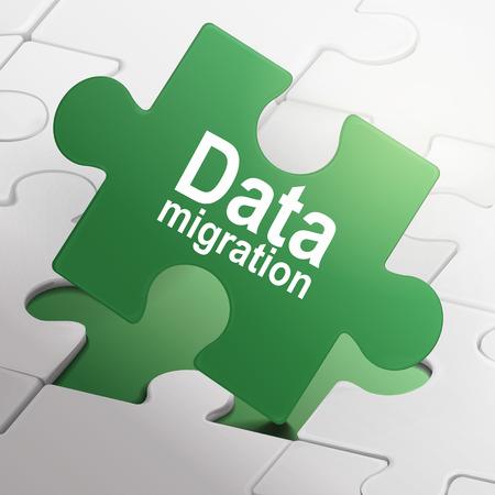 migraci�n: migraci�n de datos en verde las piezas del rompecabezas fondo