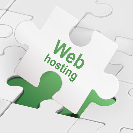 web hosting on white puzzle pieces  background Vector