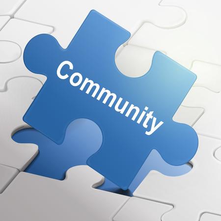 altogether: palabra comunidad en azul las piezas del rompecabezas fondo Vectores