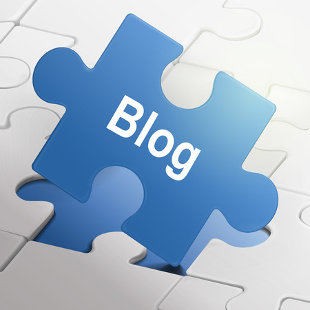 surfing the net: blog word on blue puzzle pieces background