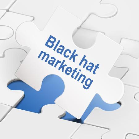 black hat: comercializaci�n sombrero negro sobre blanco las piezas del rompecabezas fondo Vectores