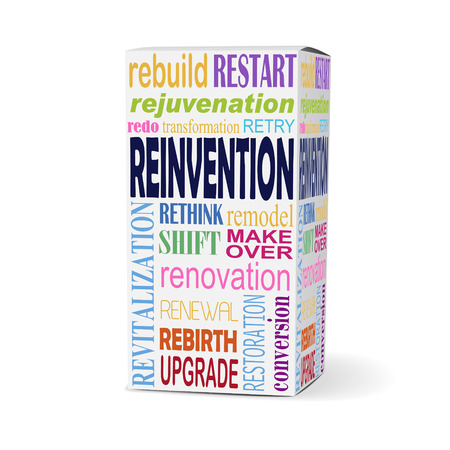 restored: reinvention word on product box with related phrases