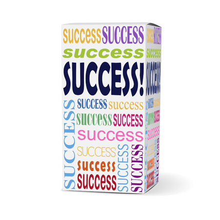 infomercial: success word on product box with related phrases