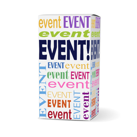 event marketing: event word on product box with related phrases