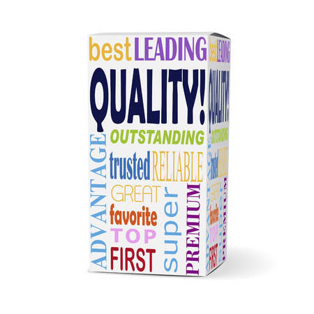 brand new: quality word on product box with related phrases