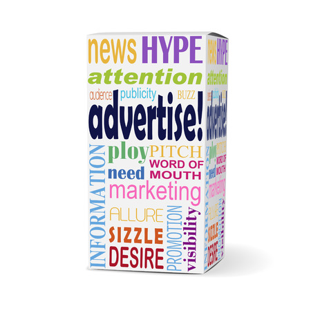beneficial: advertise word on product box with related phrases Illustration