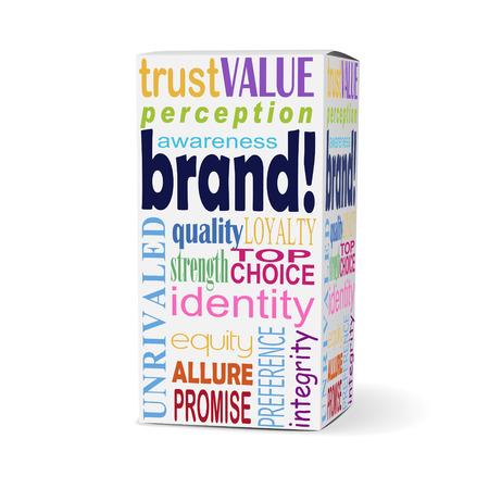 관련 문구와 함께 제품 상자에 브랜드 단어