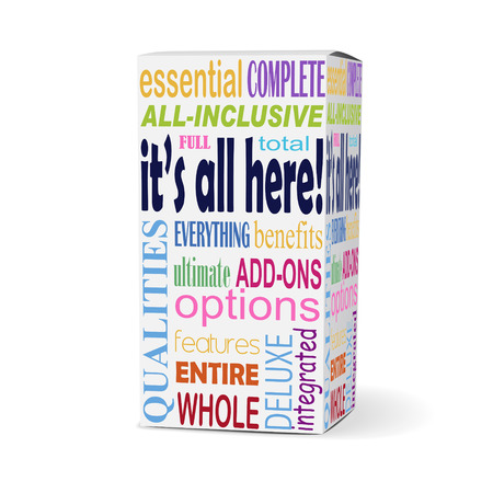 included: its all here words on product box with related phrases Illustration