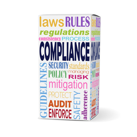 compliance: compliance word on product box with safety rules