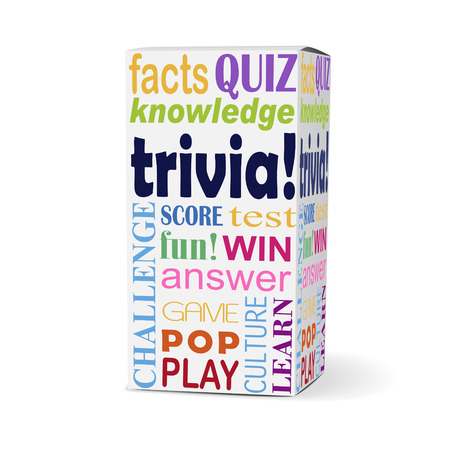 trivia: trivia word on product box with related phrases