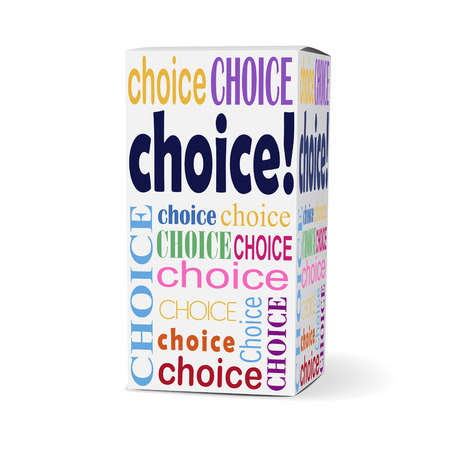 preference: choice word on product box with related phrases