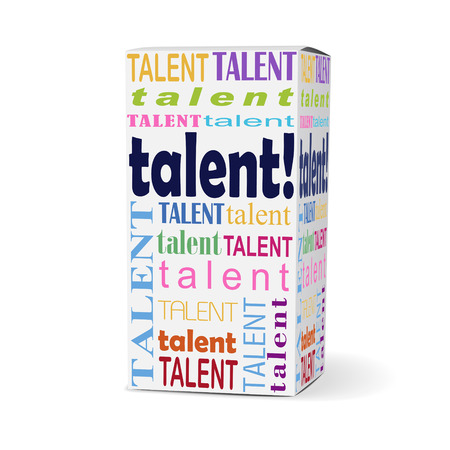 communication capability: talent word on product box with related phrases Illustration