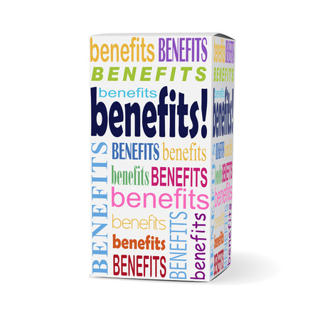 compensated: benefits word on product box with related phrases