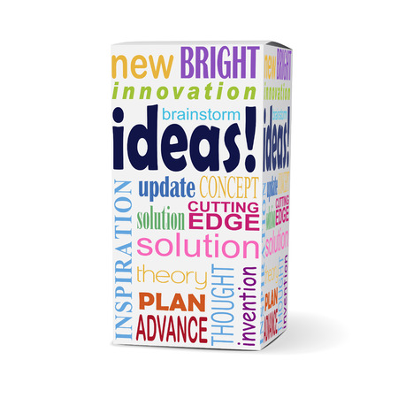 reforming: ideas word on product box with related phrases Illustration