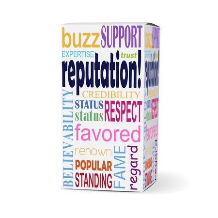 popularity: reputation word on product box with related phrases Illustration