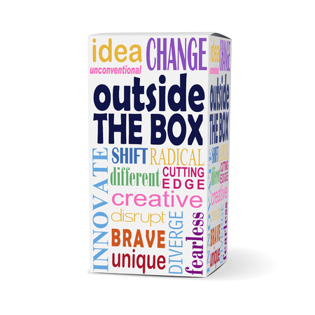 disrupt: outside the box words on product box with related phrases