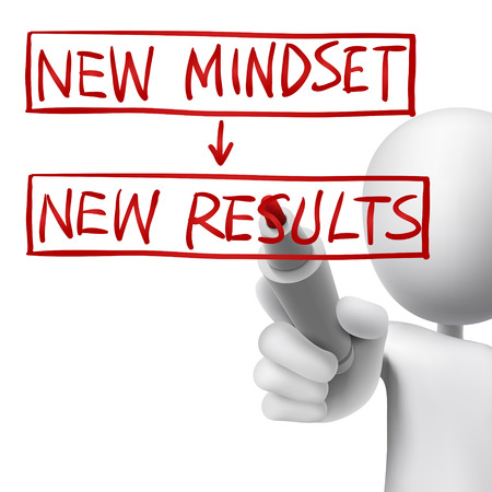 positive attitude: new mindset to new results written by 3d man over white