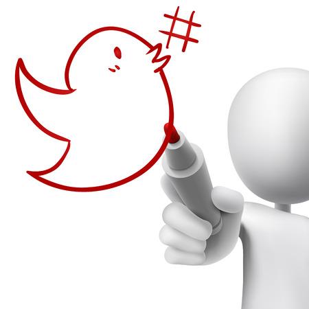 metadata: bird with hashtag symbol drawn by 3d man over white Illustration