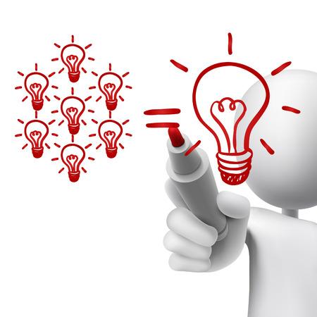 el trabajo en equipo concepto de bombillas de luz dibujado por el hombre 3d sobre blanco