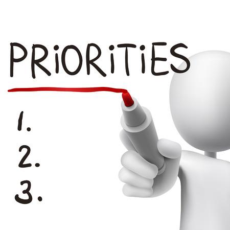 prioriteiten woord geschreven door 3D man over wit Stock Illustratie