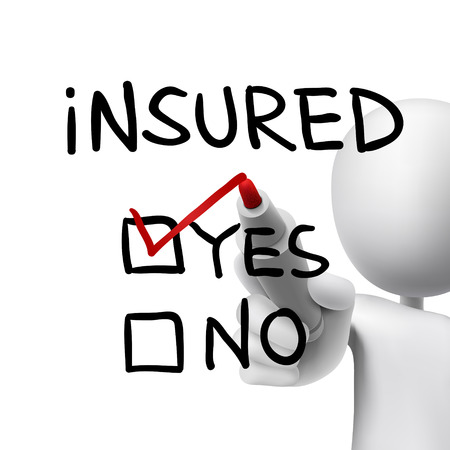 insecure: yes insured words written by 3d man over white