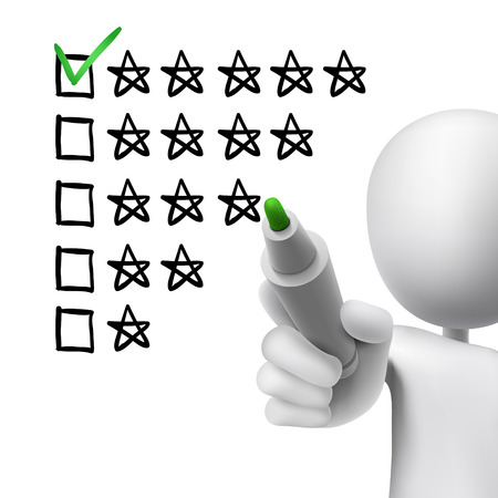 satisfactory: voting five stars by 3d man over white  Illustration