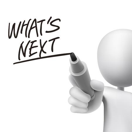 흰색 위에 3d 남자가 쓴 다음 단어는 무엇입니까?