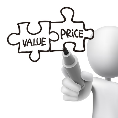 value and price words written by 3d man over white  Vector
