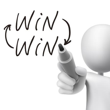cooperativismo: victoria palabra escrita por el hombre 3d sobre blanco
