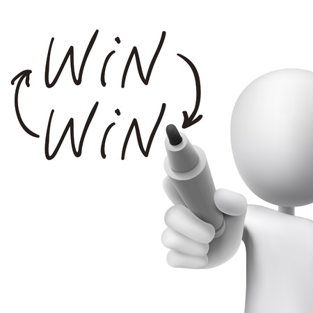 cooperative: win word written by 3d man over white