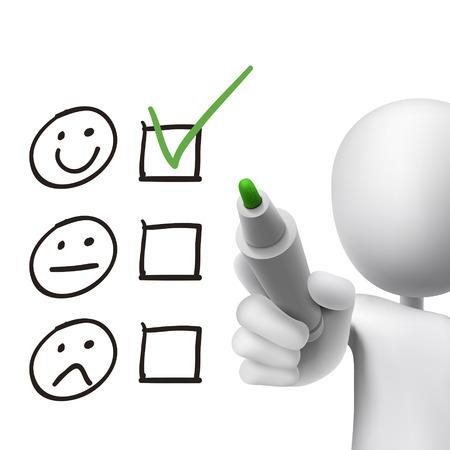 evaluation: Kundendienst Fragebogen 3d Mann in wei� gezeichnet