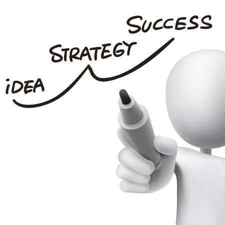 success strategy drawn by 3d man over white