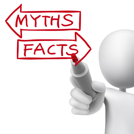 misleading: myths or facts words written by 3d man over white