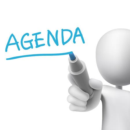 Agenda Wort von 3D-Mann in weiß geschrieben