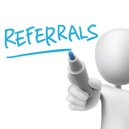 referral: referrals word written by 3d man over white