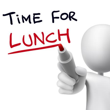 restaurante: tempo para o almoço palavras escritas pelo homem 3d sobre o branco