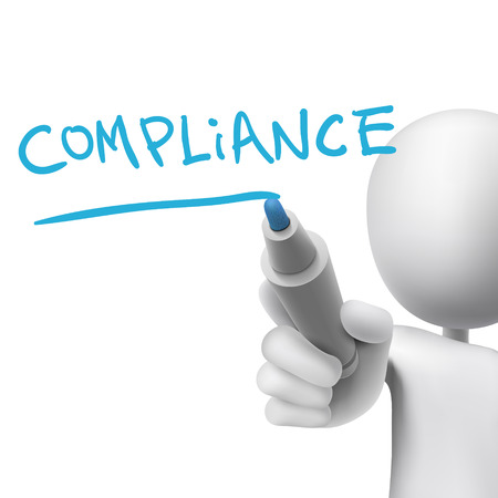 compliant: compliance word written by 3d man over white