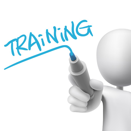 training word written by 3d man over white  Vector