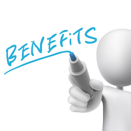 compensate: benefits word written by 3d man over white