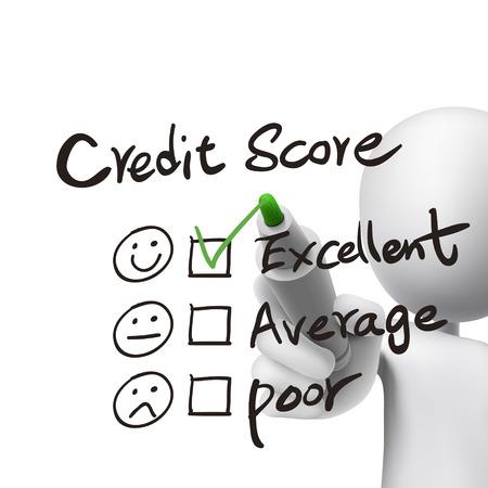 credit score woorden geschreven door 3D-man over wit Stock Illustratie