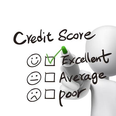 credit score words written by 3d man over white  Ilustração
