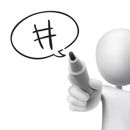 metadata: hashtag speech bubble drawn by 3d man over white  Illustration