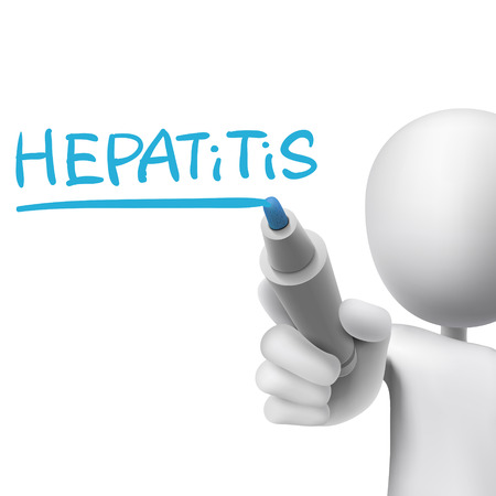 hepatitis vaccine: hepatitis word written by 3d man over white